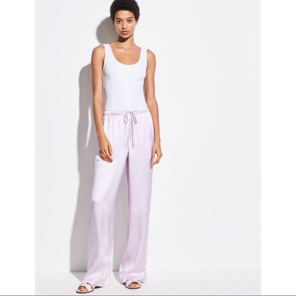 Plum silk satin trousers High-waisted khaki silk pants Long palazzo pants Wide-leg pants